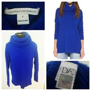 Diane Von Furstenberg Ahiga Slim Blue Cowl Sweater